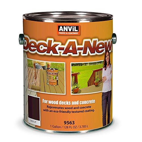 Anvil Deck-A-New Resurfacer Paint, Restores Wood Decks, Porches, Concrete Patios & Pool Decks, Premium Textured, 5 Slip Resistant Colors Available - Walnut, 1 Gallon (Pack of 2)