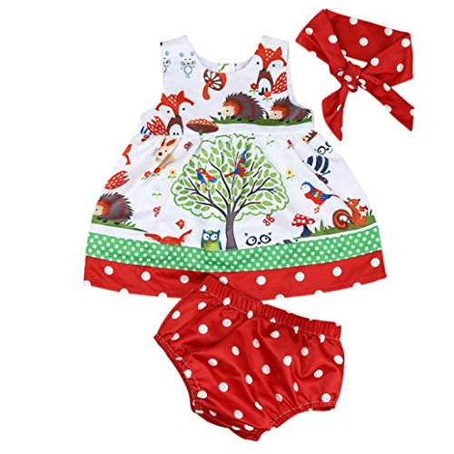 gbsell-3pcs-newborn-toddler-baby-girl-summer-clothes-animal-dress-shorts-headband-hedgehog-0-6-month