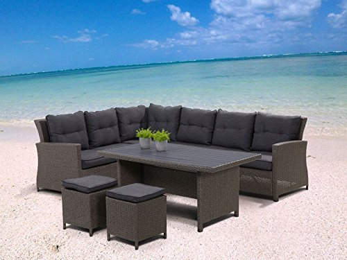 Hohe Dining Poly Rattan Lounge Havanna inkl. Kissen