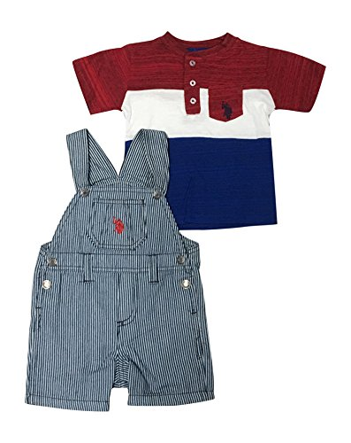 U.S. Polo Assn. Baby Boys T-Shirt and Short Set, Striped Coverall Americana Top Multi Plaid, 6-9 Months
