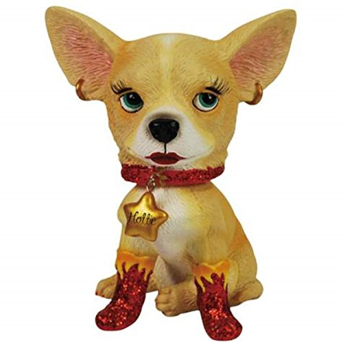 WL SS-WL-13760, 4 Inch Hottie with Flames Bobble Head Tan Chihuahua Figurine Statue 4