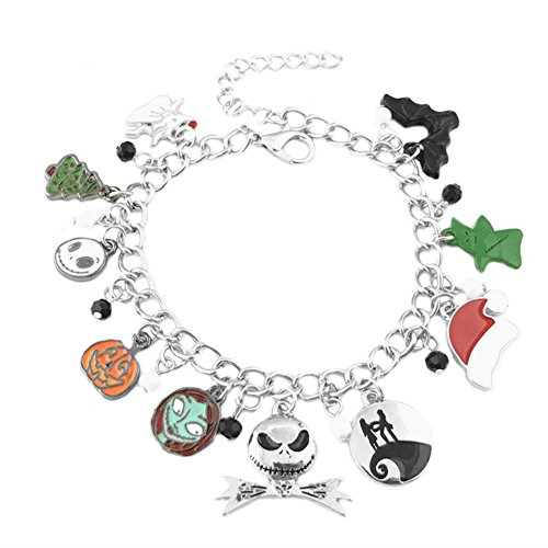Athena Brands Nightmare Before Christmas Charm Bracelet Quality Cosplay Jewelry Disney Movie Series with Gift Box