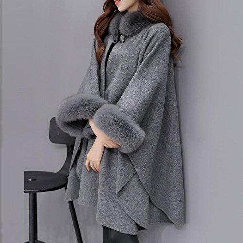Casual De Piel Coat QinMM De Parka De Cuello Capa De De Abrigo Lana Mujer Chaqueta Gris De pd6Rw6q