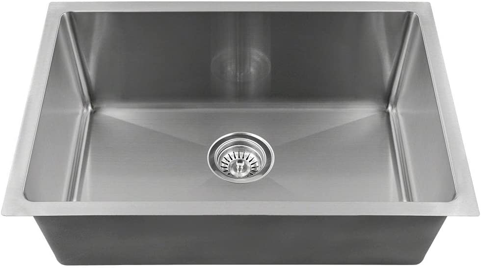 """MR Direct 2620S-16 Stainless Steel Single Bowl 3/4"""", 16 Gauge, brushed satin sink only"""