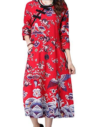 Di Manica Lunghe Rosso Cime Metà Lino Coolred Pullover donne Abito Ricamati Lunga wIq7Ip