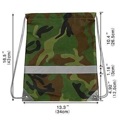 Drawstring Backpack Bags Reflective 10 Pack, Promotional Sport Gym Sack Cinch Bag (Royal Blue,Black,Red,Green,Camo)