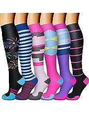 CHARMKING Calcetines de compresión para mujeres y hombres (6 pares) 15-20 mmHg son los mejores para atletismo, correr, viajes en vuelo, apoyo, 08 Negro/Azul/Azul/Rosa/Rosa, S-M