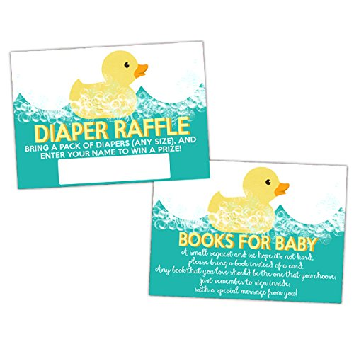 Rubber Ducky Baby Shower Books for Baby or Diaper Raffle Card Inserts Bubble Duck Baby Shower ()
