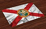 Lunarable American Place Mats Set of 4, Florida Flag Land of Sunshine Flowers Palms Rivers and Lakes Steamboat, Washable Fabric Placemats for Dining Room Kitchen Table Decoration, Red White Multicolor