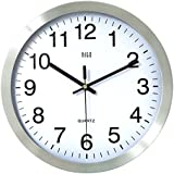 hito Silent Wall Clock Non ticking 12 Inch Excellent Accurate Sweep Movement Silver Aluminum Frame, Modern Decorative for Kitchen, Bathroom, Bedroom, Office, Classroom (Silver-Arabic)