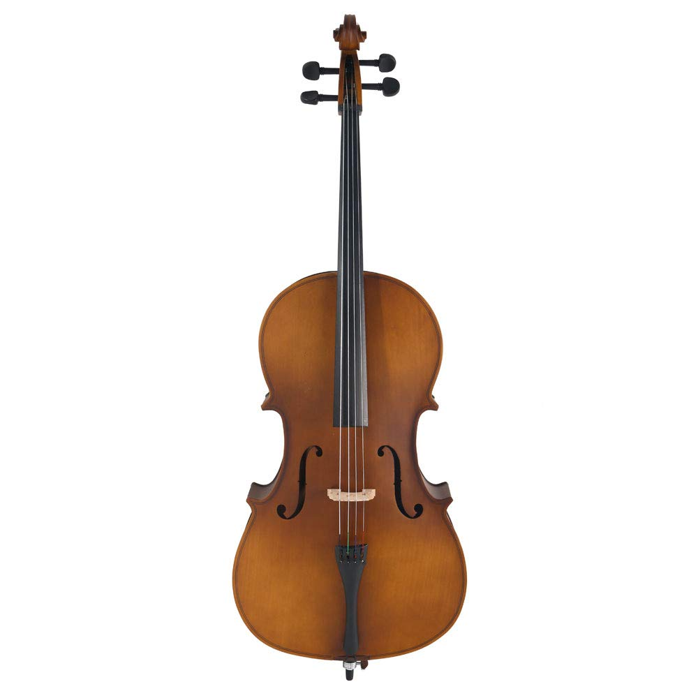 VIPITH 4/4 Acoustic Cello Case Bow Rosin Wood Color
