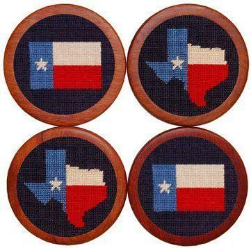 (Texas Flag Needlepoint Coasters in Blue by Smathers &)
