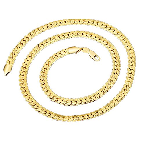 BoomYou Snake Chains Jewelry Mens Necklace Flat Gold Herringbone Chain Link (Gold Snake)