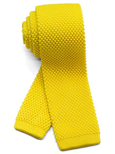WANDM Men's Knit Tie Slim Skinny Square Necktie Width 2.2 inches Washable Solid Color Canary Pale Yellow Lemon