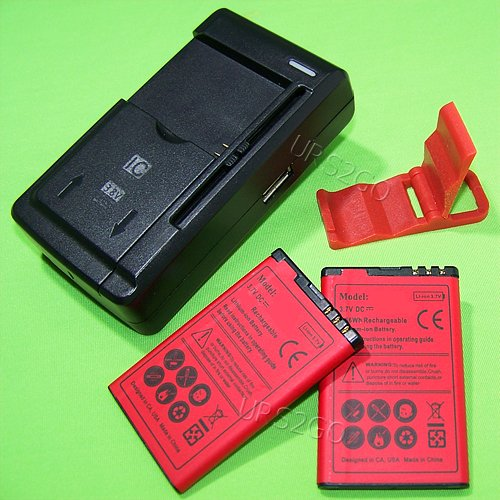 USA Seller 2x 1800mAh Standard Li-ion Battery universal USB/AC Charger Folding Bracket for AT&T Nokia C3 C3-00 - Nokia C300