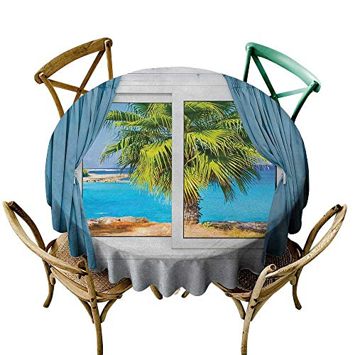 Wendell Joshua Round Vinyl Tablecloth 70 inch Beach,View from Window with a Curtain Tropical Beach Sunlight Horizon Palm Ocean Print,Blue Green Indoor/Outdoor Spillproof Table Cloth