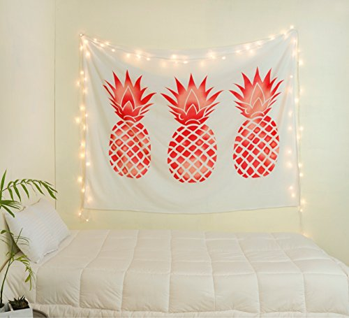 Sparkly Rose Gold Pineapple Tapestry by Labhanshi , Pineapple Tapestry Wall Art Hanging Tapestry For Living Room Bedroom Dorm Home Decor