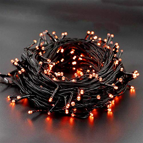 WATERGLIDE 300 LED Orange Halloween String Lights, 98.5ft 8 Lighting Modes Light, Plug in String Waterproof Mini Fairy…