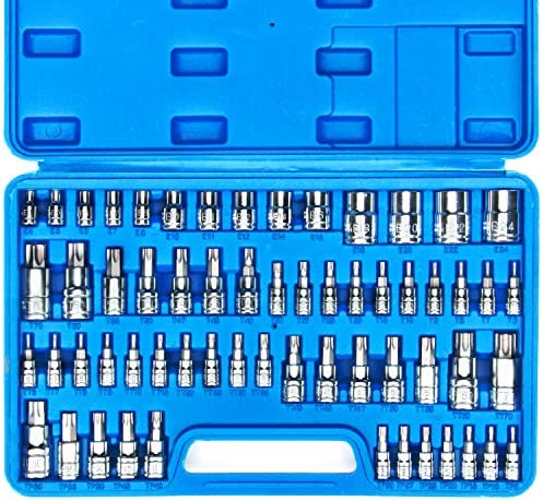 CASOMAN Master Torx Bit Socket and External Torx Socket Set, 60-Piece Set, S2 and Cr-V Steel,E4-E24, T6-T70,TT6-TT70,TP8-TP60