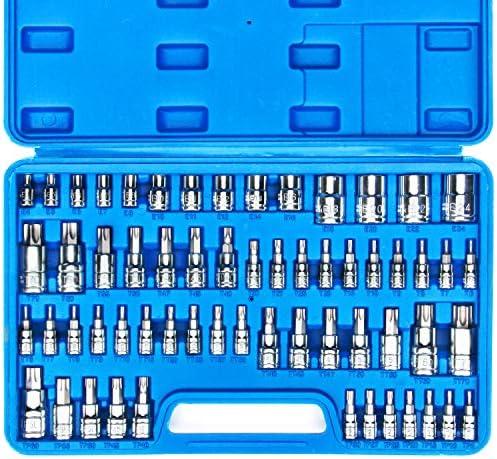 CASOMAN Master Torx Bit Socket and External Torx Socket Set, 60-Piece Set, S2 and Cr-V Steel,E4-E24, T6-T70,TT6-TT70,TP8-TP60