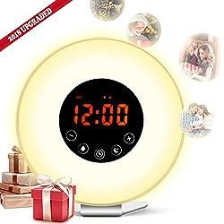 Wake Up Light Alarm Clock by Homitem, Digital Sunrise Simulation Alarm Clock -【2018 Upgraded】-with 6 Alarm Sounds,FM Radio,7 Color Lights ,Sunrise&Sunset Simulation and USB Charger