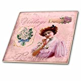 3dRose Andrea Haase Illustration - Nostalgic Woman Illustration In Shades Of Soft Pink - 8 Inch Glass Tile (ct_274857_7)