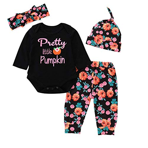 4Pcs Halloween Infant Baby Girls Pretty Little Pumpkin Long Sleeve Romper + Clover Floral Printed Pants + Headband + Hat Outfit Set (70) -