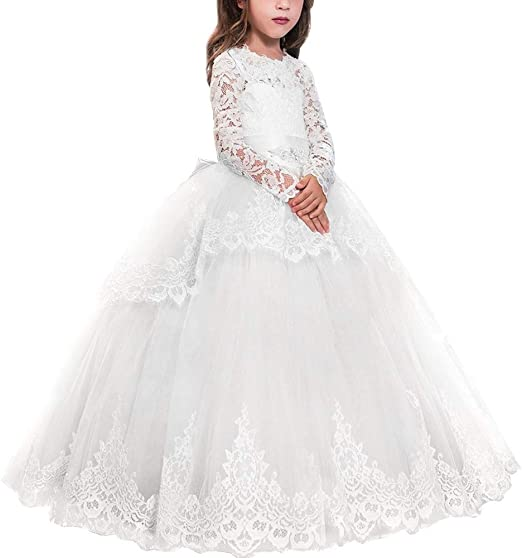 Royal Princess Sequined  Wedding Appliques Flare Sleeve Holy Communion Dress