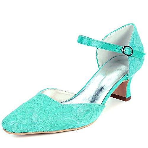 Hecho 5 Satén Boda Flores Seda Del Zapatos Pie Mujeres L Mano Redondo tacones Altos A Cordón De Blue 5cm yc Las Dedo U4xY6