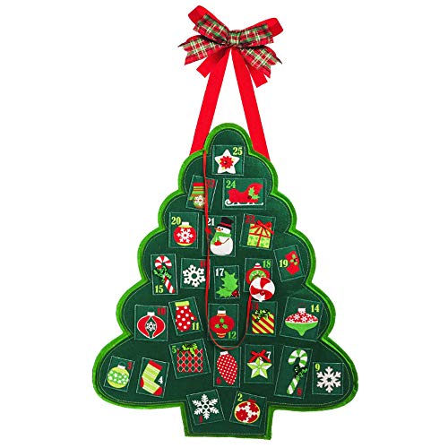 Red Co. Christmas Tree Advent Calendar Felt Door or Wall Décoration - Countdown to Xmas