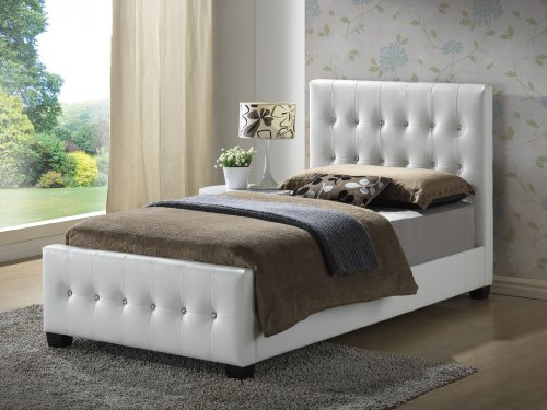 White - Twin Size - Modern Headboard Tufted Design Leather Look Upholstered Bed (White Tufted Twin Bed)