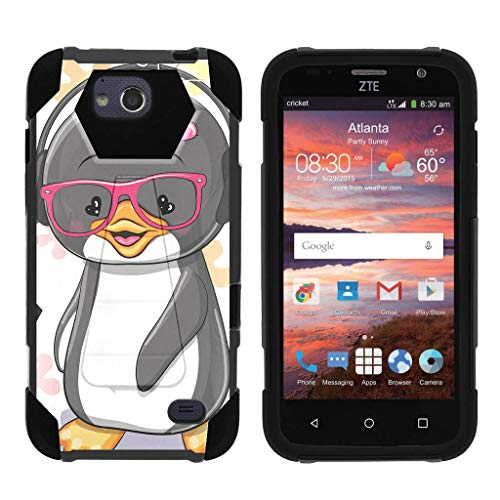 TurtleArmor | Compatible for ZTE Maven Case | ZTE Fanfare Case | ZTE Atrium Case [Dynamic Shell] Hybrid Duo Cover Impact Absorbent Shock Silicone Kickstand Hard Shell Animal - Cute Penguin