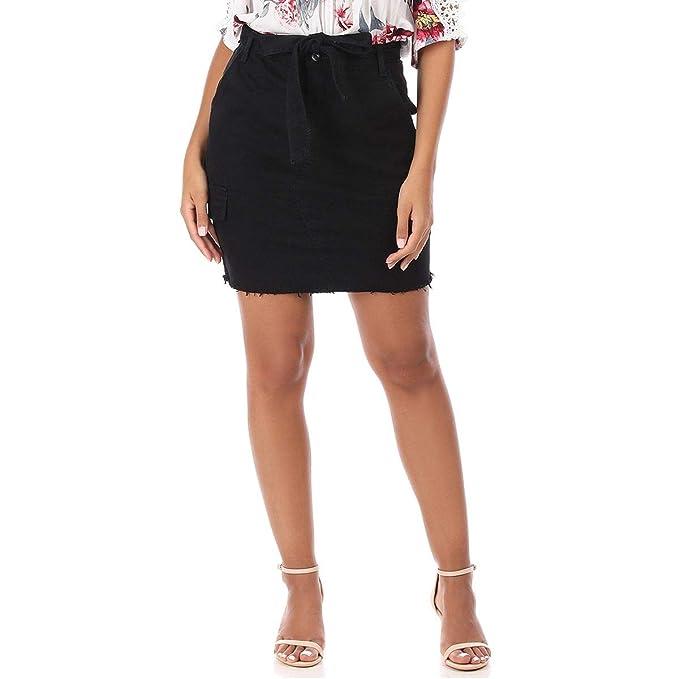 La Modeuse - Falda vaquera corta negra Negro L: Amazon.es: Ropa y ...