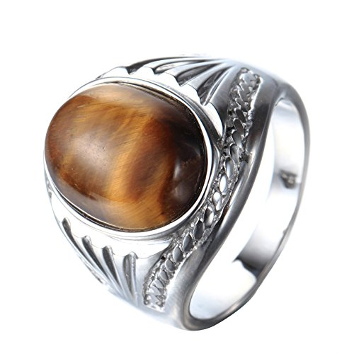 (PMTIER Men's Stainless Steel Oval Tiger Eyes Gemstone Ring Silver Size 9)
