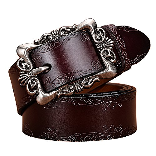 - Women's Cowhide Leather Belt Vintage Pin Buckle with Flower Pattern (Coffee)