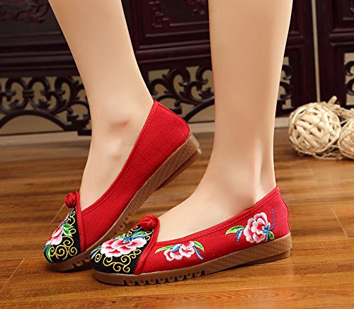 Casual Flats Round Toe Loafer Canvas Shoes Embroidery Red Womens AvaCostume gtqUYZq