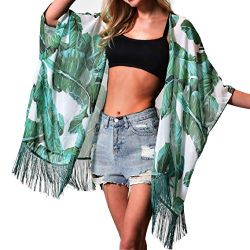 Women's Floral Kimono Cover Up - Lightweight Leopard Chiffon Beachwear for Bikini,Cardigan and Swimwear (one Size, Green Leaf)