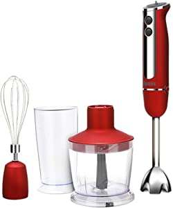 XIAO WEI Hand Blender Made of Stainless Steel (800 watts Mixer Chopper Whisk and Food Processor incl. 4-Piece Accessories) Hand Blender Set Hand Blender Mixer Hand Blender red