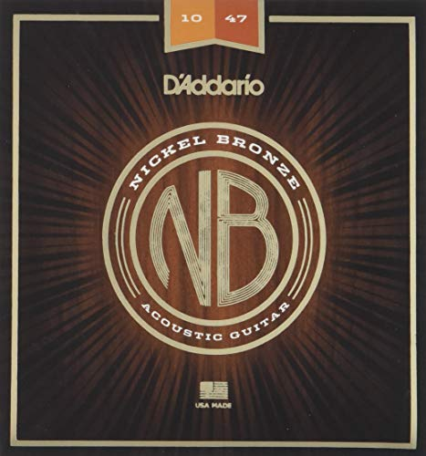 (D'Addario Nickel Bronze Acoustic Guitar Strings, Extra Light, 10-47)