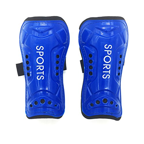 Silfrae Soccer Shin Guards Adjustable Leg Pads Impact Resistance Child and Adult 1Pair (Blue1, Adult) (Wear Soccer Shin Guards)