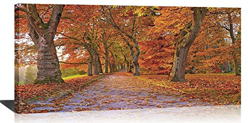 (Yiijeah Canvas Wall Art Red Maple Tree Forest Park Landscape Print Painting Picture Warm Themed Maple Leaf Road Modern Artwork for Living Room Bedroom Office Ready to Hang with Frame 20x40 Size )