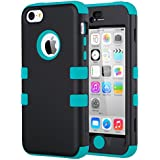 iPhone 5C Case, ULAK 3in1 Anti Scratches iPhone 5C Case Hybrid with Soft Flexible Inner Silicone Skin Protective Case Cover for Apple iPhone 5C Black + Blue