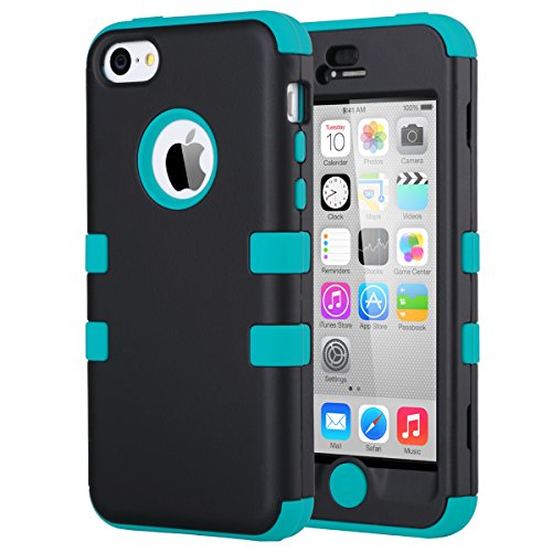 iPhone 5C Case, iPhone5C Case, ULAK Shockproof Hybrid Heavy Duty Dual Layer High Impact Protection Case Cover for Apple iPhone Apple iPhone 5C-Black/Blue