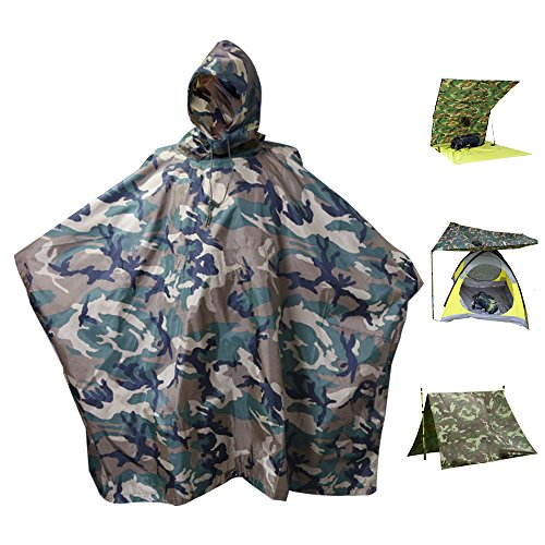 Unisex Rain Poncho Waterproof RipStop Hooded Rain coat for Hunting Camping