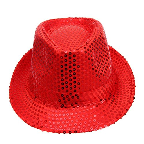 Unpara Glitter Sequins Top Hat Dance Stage Hat Show Performances (Red) ()