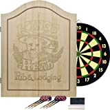 Trademark Global 15-91004 King's Head Value Light Wood Dartboard Cabinet Set