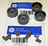 WD12X10277 AND WD12X10136 4PC+4PC GENUINE FACTORY OEM ORIGINAL DISHWASHER RACK ROLLER STUD AXLE AND ROLLER WHEEL KIT FOR GE HOTPOINT