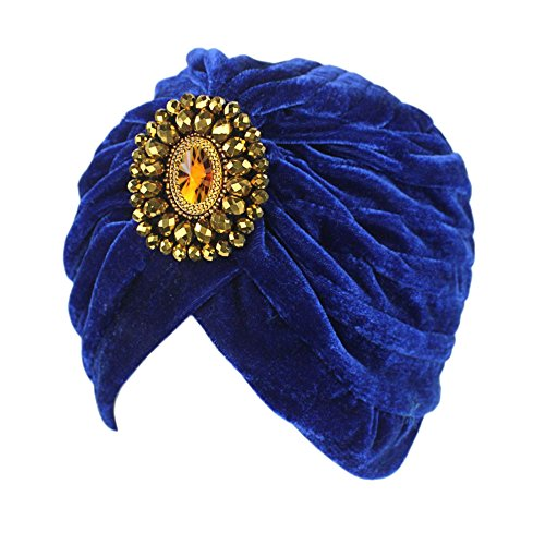 Decou Twist Pleated Hair Wrap Stretch Turban 0545 ,Blue,One size ()