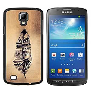 Planetar® ( Pluma india nativa pergamino rústico ) Samsung Galaxy S4 Active i9295 Fundas Cover Cubre Hard Case Cover