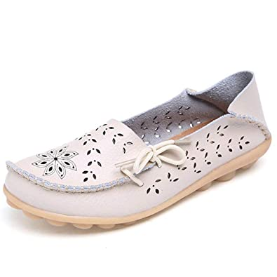 zhenghewyh Womens Leather Loafer Shoes Moccasins Wild Breathable Flat Driving Shoes Comfort Slip-on Casual